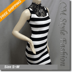 Sexy Stripe Lace Turtleneck Stretchy Dress Black White