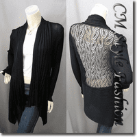Shawl Collar Drapey Open Cardigan Black