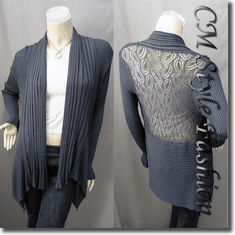 Shawl Collar Drapey Open Cardigan Gray / Grey