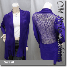 Shawl Collar Drapey Open Cardigan Purple