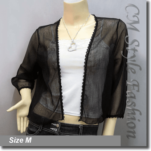 Sheer Crochet Trim Shrug Cropped Bolero Topper Black
