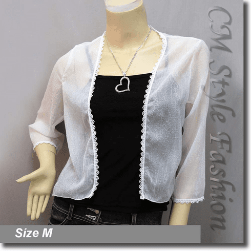 Sheer Crochet Trim Shrug Cropped Bolero Topper White