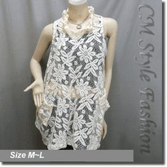 Sheer Flower Lace A Line Flowy Tunic Top Beige