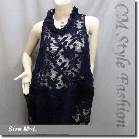 Sheer Flower Lace A Line Flowy Tunic Top Blue