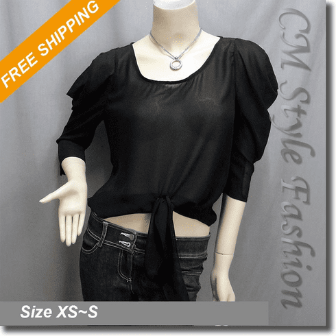 Sheer Front Knot Cut Out Shoulder Blouse Top Black