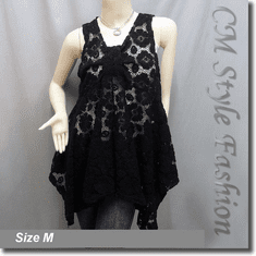 Sheer Front Knot Lace A Line Flowy Tunic Top Black