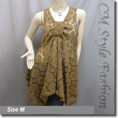 Sheer Front Knot Lace A Line Flowy Tunic Top Brown