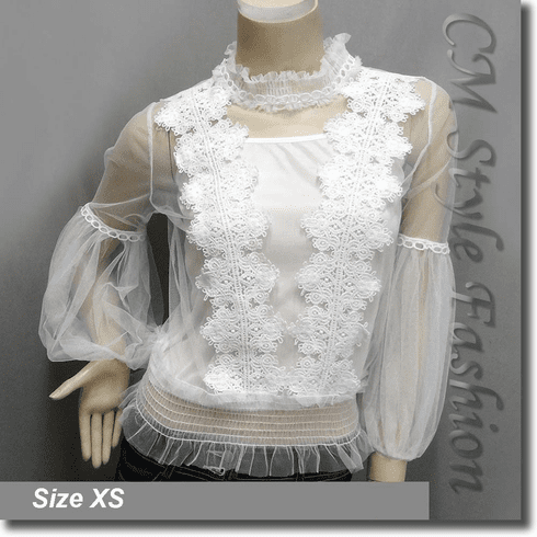 Sheer Mesh Floral Overlay Top Crop Cami Top 2-Piece Set White
