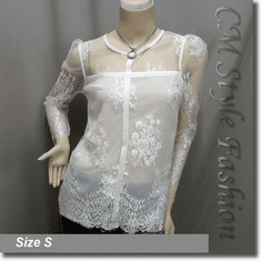 Sheer Shoulder Lace Floral Blouse Top White