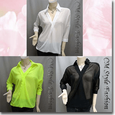 Sheer Twisted Blouse Shirt Top Series
