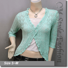 Silvery Thread Crochet Knit Cardigan Topper Aqua Green