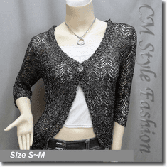 Silvery Thread Crochet Knit Cardigan Topper Black