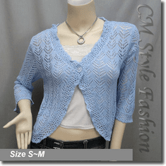 Silvery Thread Crochet Knit Cardigan Topper Blue