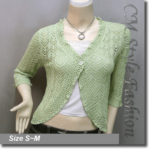 Silvery Thread Crochet Knit Cardigan Topper Green