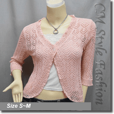 Silvery Thread Crochet Knit Cardigan Topper Pink