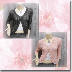 Silvery Thread Crochet Knit Cardigan Topper Series