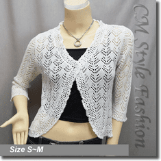 Silvery Thread Crochet Knit Cardigan Topper White