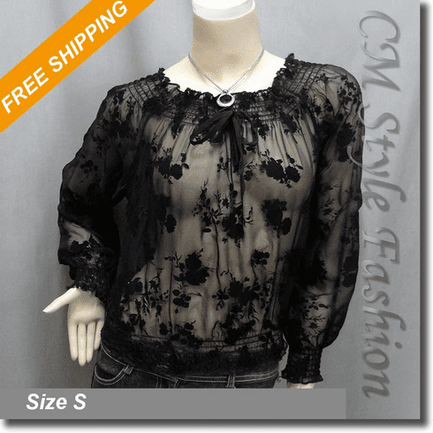 Smock Wide Neckline Floral Sheer Blouse Top Black