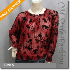 Smock Wide Neckline Floral Sheer Blouse Top Red Black