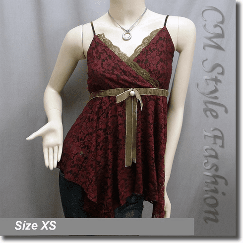Spaghetti Strap Flowy Floral Lace Vest Top Burgundy
