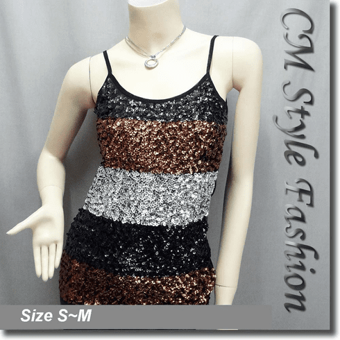 Spaghetti Strap Sequin Vest Top Black Silvery Brown