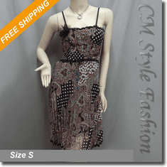 Spaghetti Straps Printed Pleated Dress with Corsage Pin Multi-colored