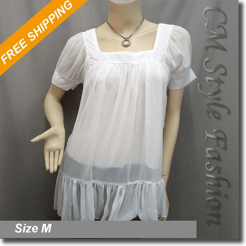 Square Neck Chiffon Puff Sleeve Tent Frock Tunic Top Off White