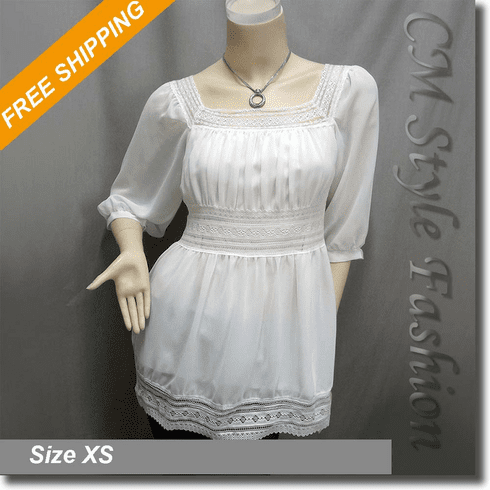 Square Neck Crochet Lace Trimming Boho Blouse Top Off White