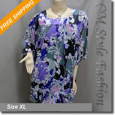 Square Neck Tent Chiffon Floral Frock Tunic Top Multi-color