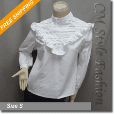 Stand Up Collar Lace Ruffle Blouse Shirt Top