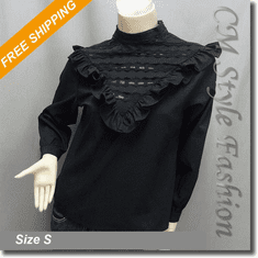 Stand Up Collar Lace Ruffle Blouse Shirt Top Black