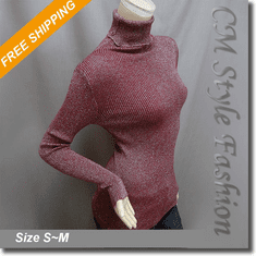 Stretchy Metallic Ribbed Turtleneck Knit Sweater Blouse Top Burgundy