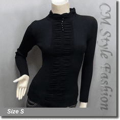 Stretchy Ribbed Ruched Long Sleeve Mock Neck Pullover Top Black