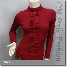 Stretchy Ribbed Ruched Long Sleeve Mock Neck Pullover Top Burgundy Red