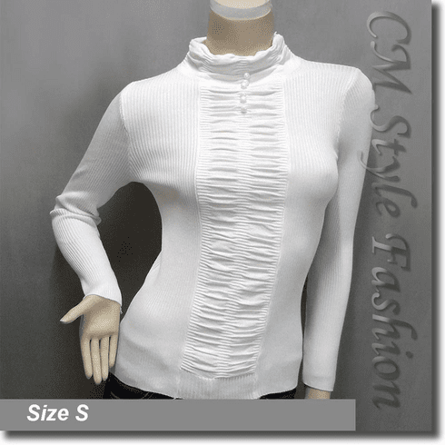 Stretchy Ribbed Ruched Long Sleeve Mock Neck Pullover Top Off White