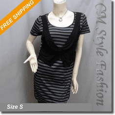 Stripes Waist Coat One Piece Tunic Dress Black Gray