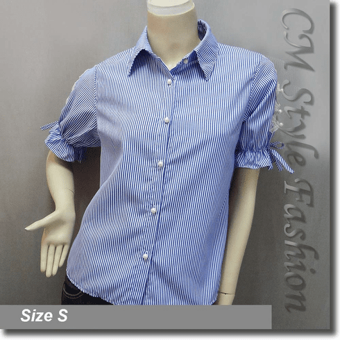 Stripey Lace Bows Cut Outs Blouse Shirt Top Blue White