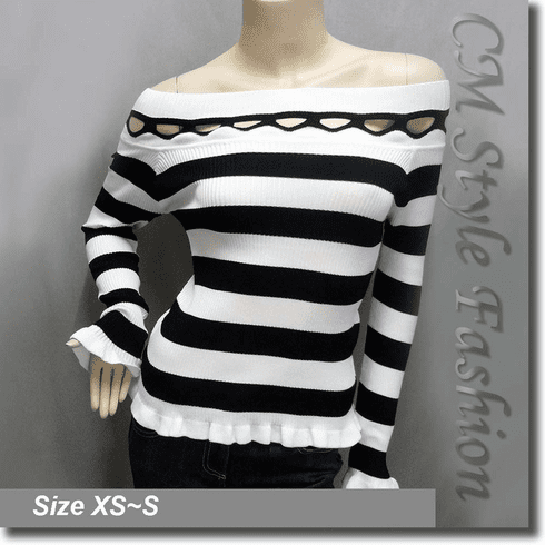Stripey Wide Neckline Peekaboo Stretchy Ribbed Top Black White