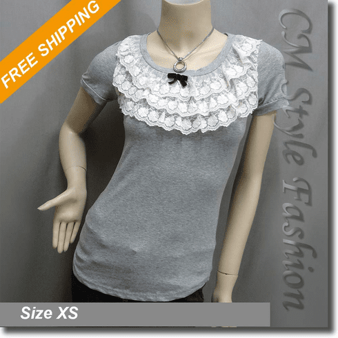 Sweet Lace Tiers Ruffled Blouse Top Gray