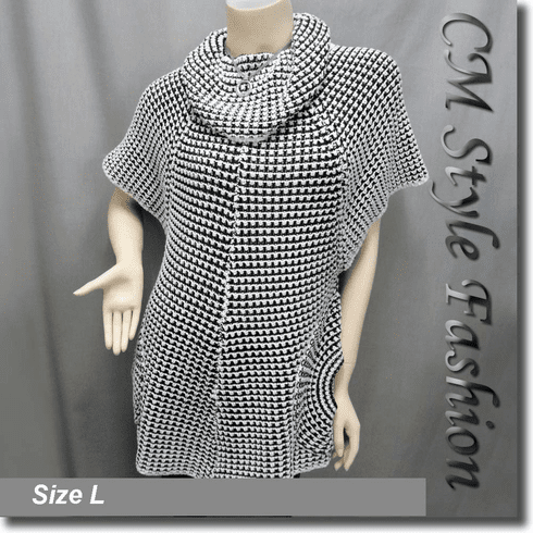 Swing Sleeve Pockets Tunic Top Black White