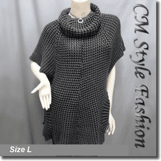 Swing Sleeve Pockets Tunic Top Gray Black