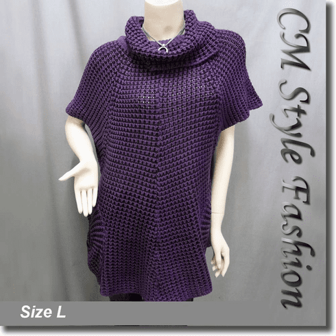 Swing Sleeve Pockets Tunic Top Purple Black