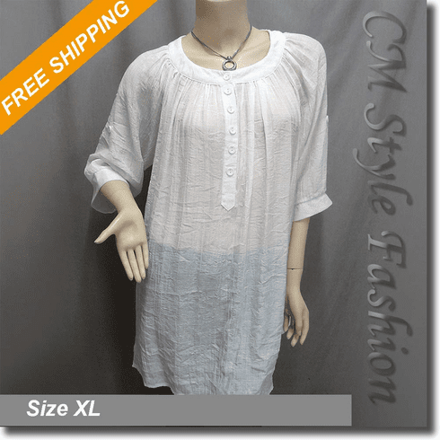 Tent Frock Tunic Shirt Top Off White