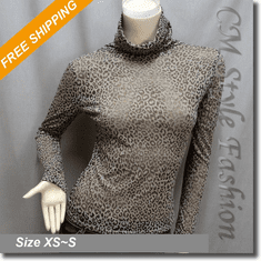 Turtleneck Leopard Print Semi Sheer Blouse Top Brown