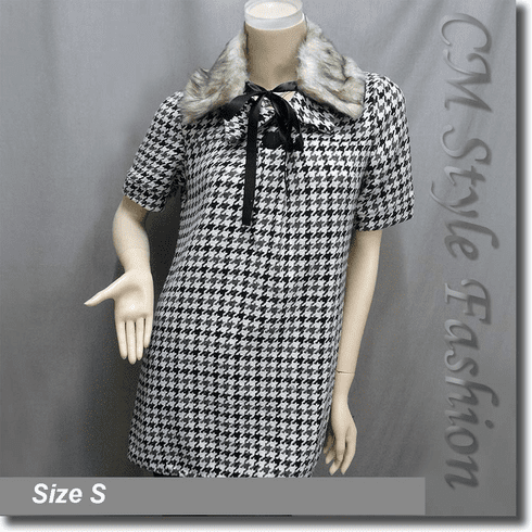 Tweed Houndstooth Faux Fur Collar Tunic Top Black Gray White