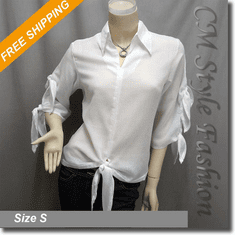 Tying Knots Chic Shirt Blouse Top Off White
