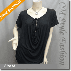 Unusual Front Tie Ruched Drapey Funky Tunic Top Black