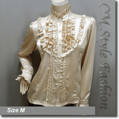 Victorian Style Ruffled Satin Elegant Blouse Shirt Top Beige