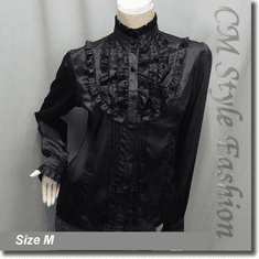 Victorian Style Ruffled Satin Elegant Blouse Shirt Top Black