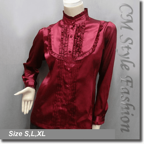 Victorian Style Ruffled Satin Elegant Blouse Shirt Top Burgundy